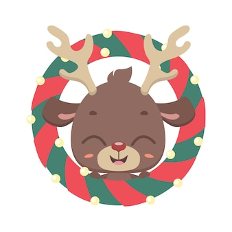 Симпатичный олень с рождественским венком
