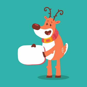 Cute reindeer with empty sign  cartoon character isolated on background.