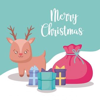 선물 상자 크리스마스와 귀여운 순록
