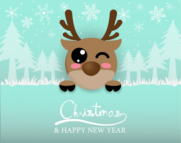 Cute reindeer with snow and christmas tree in forest,digitalcraft,paper cut