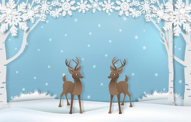 Cute reindeer with snowflake