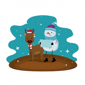 Cute reindeer with snowman christmas characters