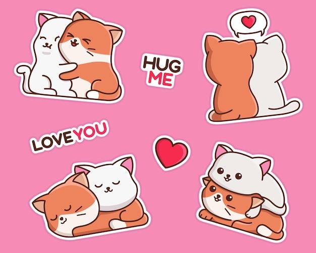 Cute relationship cat cartoon sticker