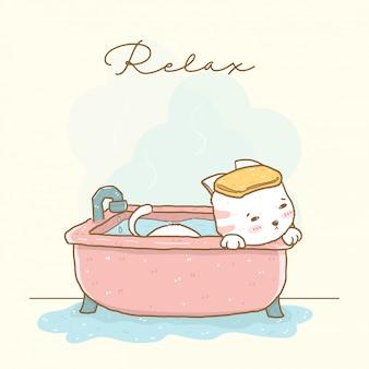 Cute relax white cat shower in pink warm bathtub, idea for greeting card, children stuff print, illustration flat vector