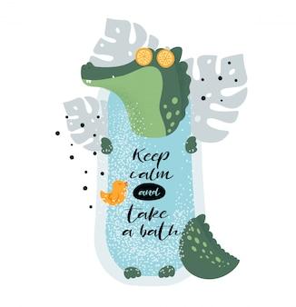 Cute relaxing crocodile in jungle bath