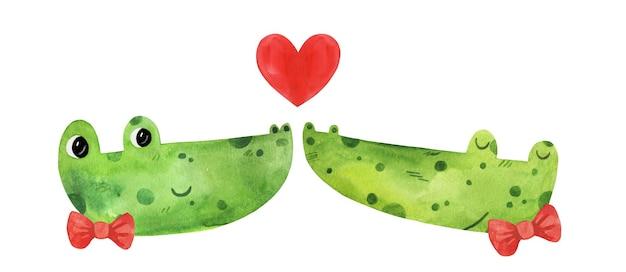 水彩で恋をしているかわいい爬虫類のワニのカップル。