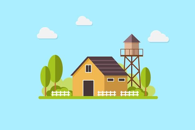 かわいい住宅カントリーハウスと水タンク。