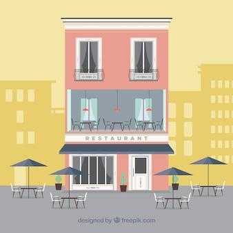 Cute restaurant facade in flat design
