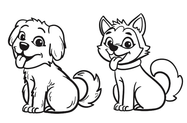 かわいいレトリーバーとハスキー犬の概要ベクトル図