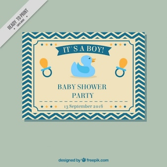 Cute retro baby shower card with dummy and duck toy