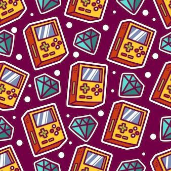 Cute retro games theme seamless pattern