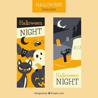 Cute retro halloween banners