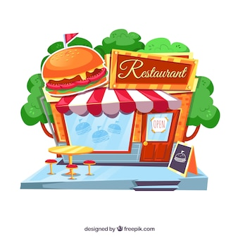 Cute retro hamburger facade