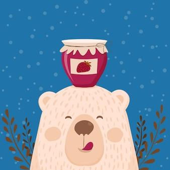 Cute retro hand drawn card as funny bear with jar jam. for kids menu, winter holidays, birthday, christmas, new year