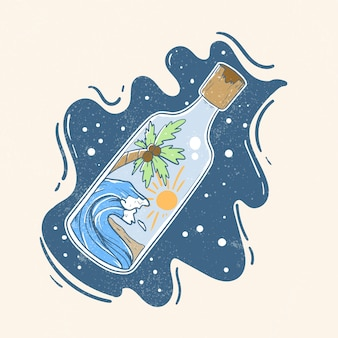 Cute retro paradise in magic bottle illustration