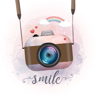 Cute retro photo camera, watercolor stay