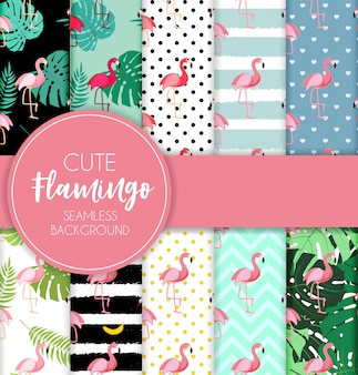 Cute retro seamless flamingo pattern collection set