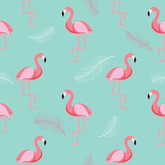 Cute retro seamless flamingo pattern