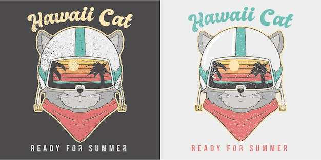 Cute retro summer cat illustration.