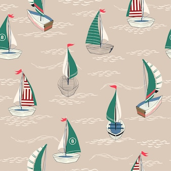 Cute and retro summer seamless pattern