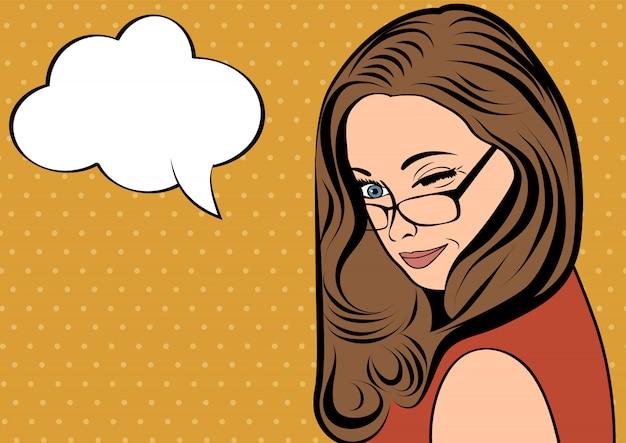 かわいいレトロな女性、漫画スタイルのメッセージ