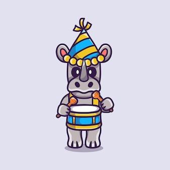 Милый носорог празднует новый год, играя на барабанах