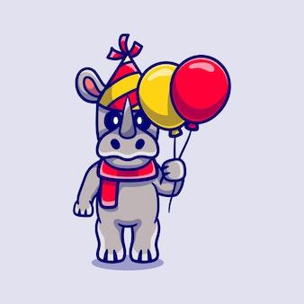 Милый носорог празднует с новым годом или днем рождения воздушными шарами