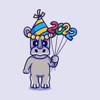 Милый носорог празднует новый год с воздушными шарами 2022 года