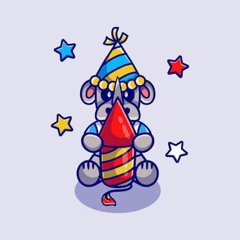 Милый носорог празднует новый год с ракетой фейерверка
