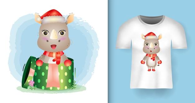 Tシャツデザインのギフトボックスでサンタ帽子とスカーフを使用したかわいいサイのクリスマスキャラクター