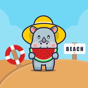 Cute rhino eat watermelon on the beach cartoon illustration