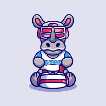 Cute rhino gamer playing game with virtual reality headset