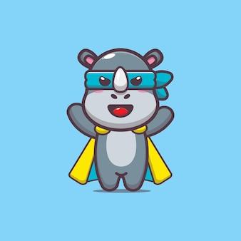 Милый носорог герой мультфильм векторные иллюстрации
