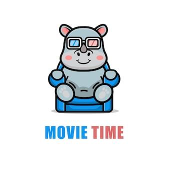 Cute rhino is watching a film cartoon illustration