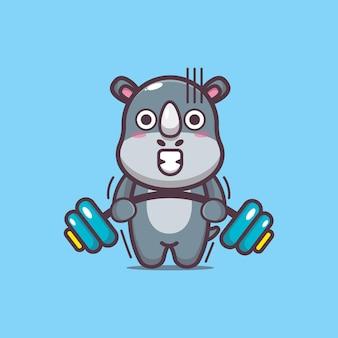 Милый носорог подъема штанги мультфильм векторные иллюстрации