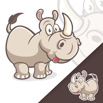 귀여운 코뿔소 마스코트 동물 만화