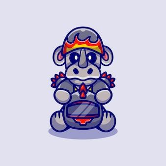 Cute rhino motorcycle gang member