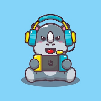 Cute rhino palying a game cartoon vector illustration