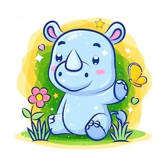 Cute rhino play around the garden