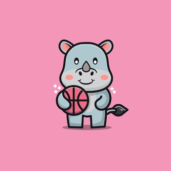 Cute rhino play basketball cartoon illustration