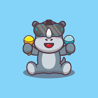Cute rhino playing virtual reality game cartoon vector illustration