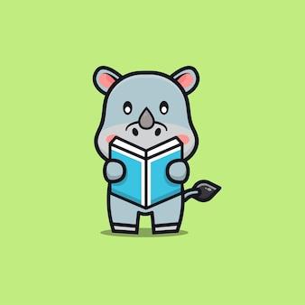 Cute rhino reading book cartoon illustration