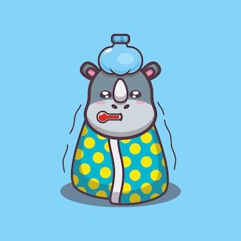 Милый носорог больной мультфильм векторные иллюстрации