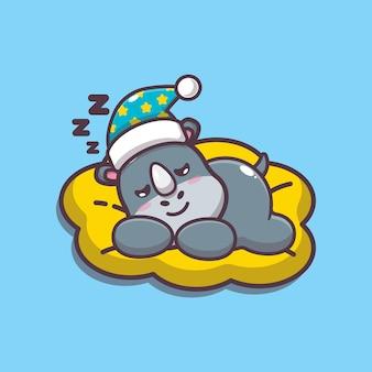 Милый носорог спать мультфильм векторные иллюстрации