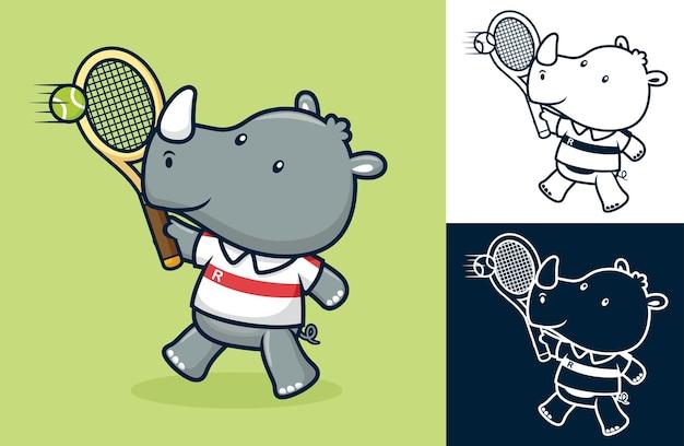 귀여운 코뿔소 테니스 선수. 평면 아이콘 스타일의 만화 그림