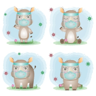 Cute rhino using face shield and mask collection