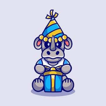 Милый носорог в шляпе и подарке на день рождения