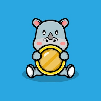 동전 일러스트와 함께 귀여운 코뿔소