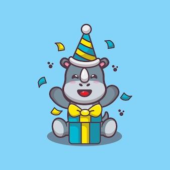 Милый носорог с подарочной коробкой мультфильм векторные иллюстрации
