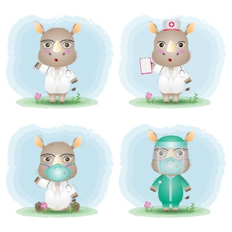 Cute rhino with medical staff team doctor and nurse costume collection